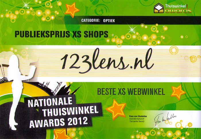 123 Lens wint Thuiswinkel Award XS in de categorie Optiek